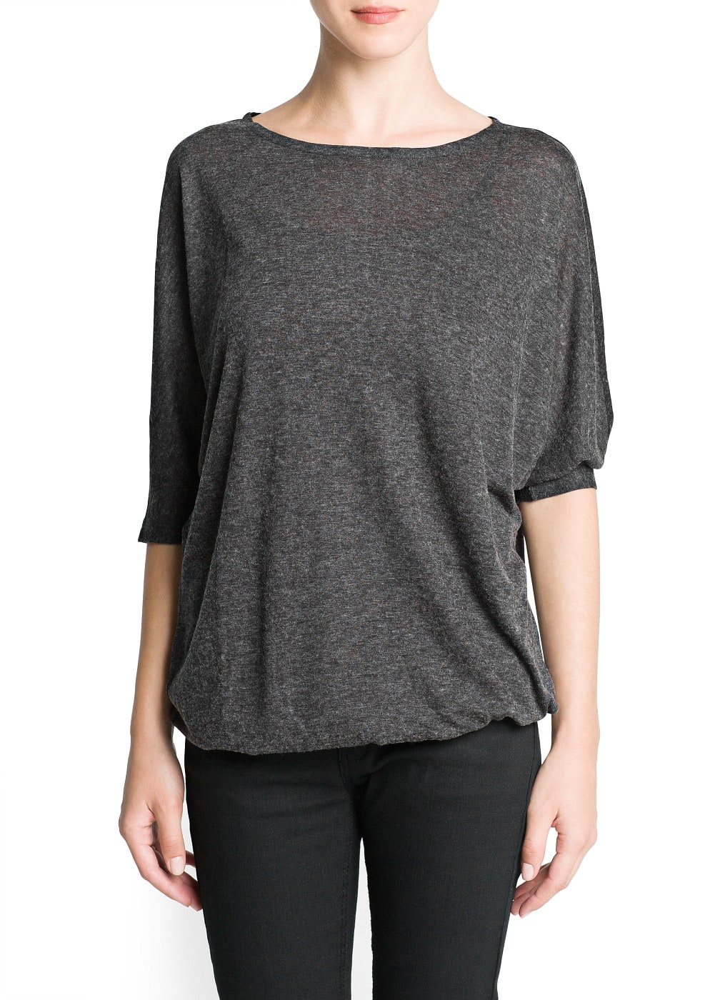 Dolman sleeve flecked t-shirt | MANGO