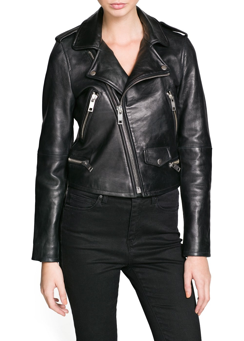 Premium - zippers leather biker jacket | MANGO