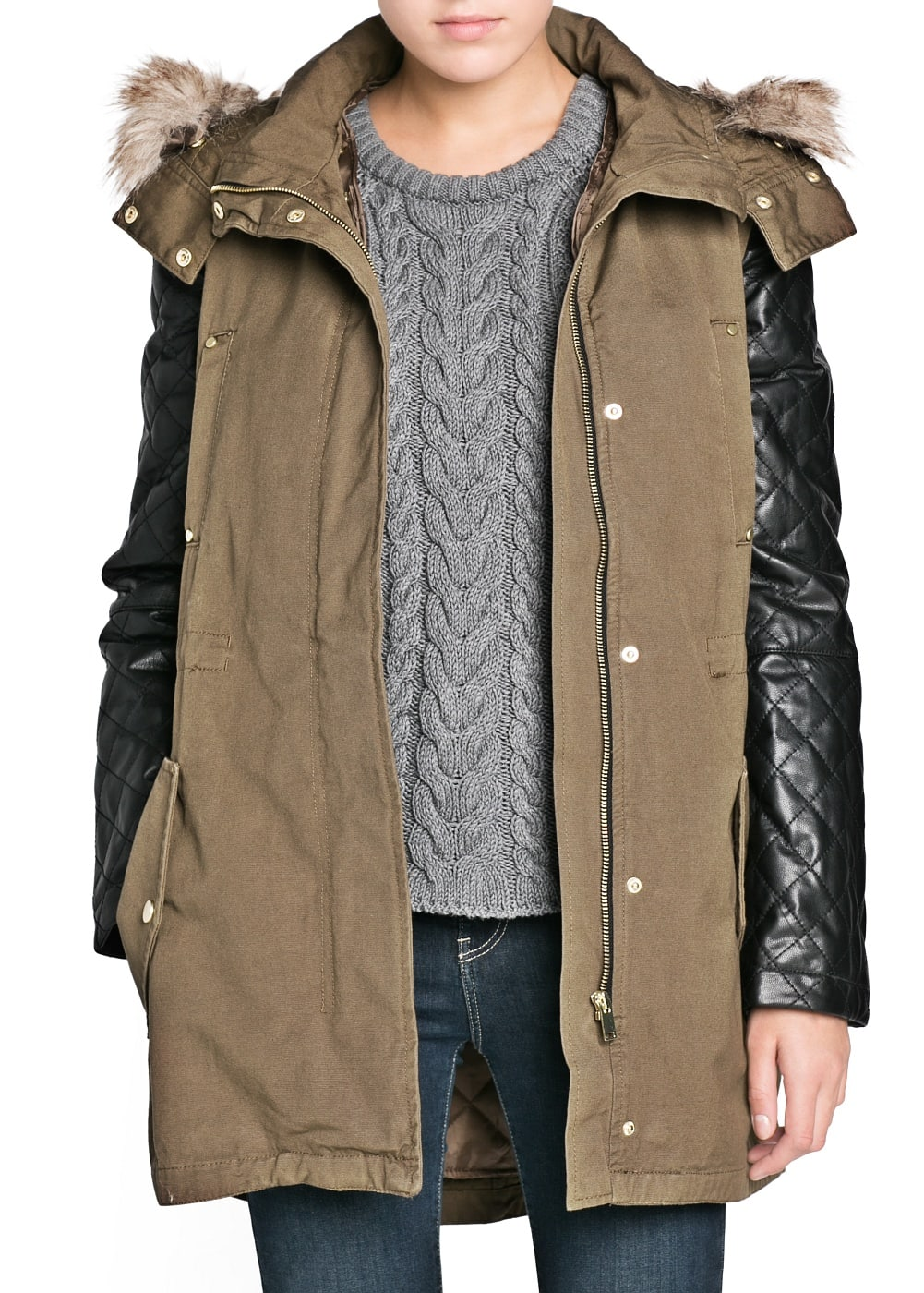 Leather sleeve convertible parka | MANGO