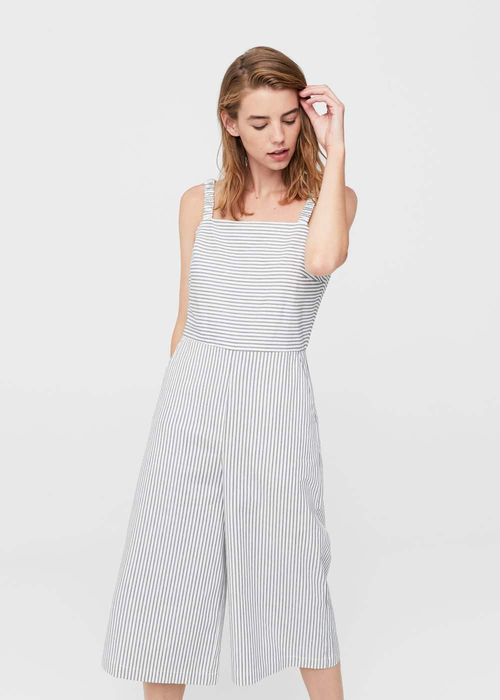 Striped cotton jumpsuit | MANGO