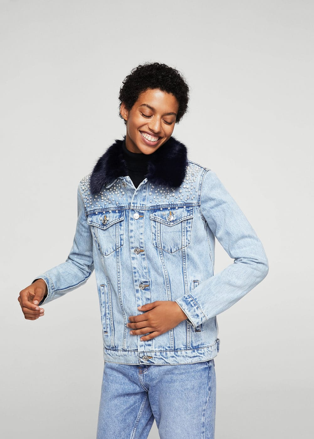 Pearl denim jacket | MANGO