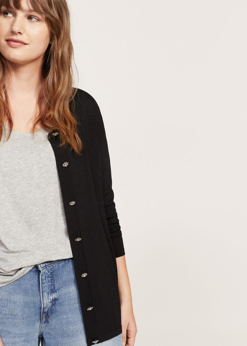 Decorative buttons cardigan | MANGO