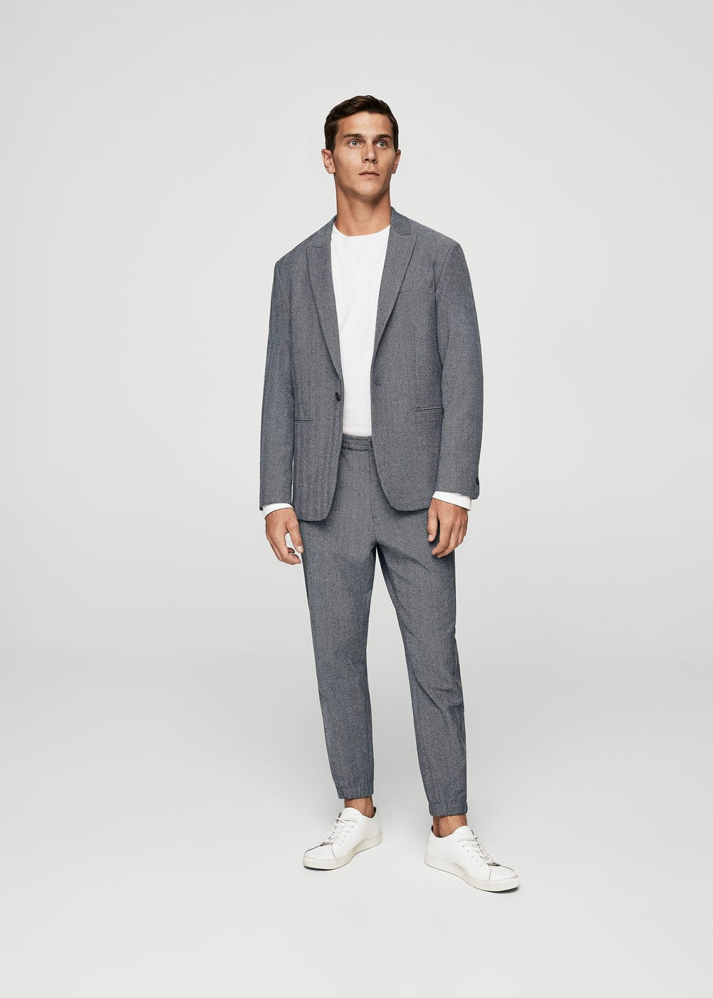 Herringbone jogging suit trousers | MANGO MAN