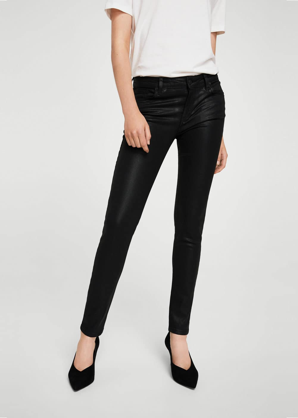 Coated skinny gloss jeans | MANGO