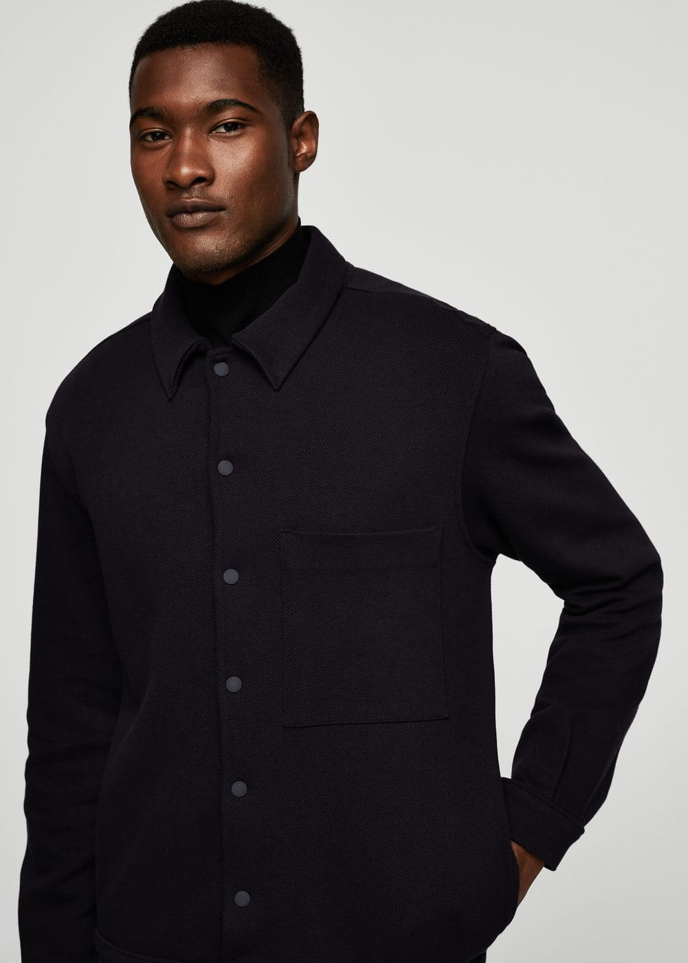 Textured cotton-blend jacket | MANGO MAN
