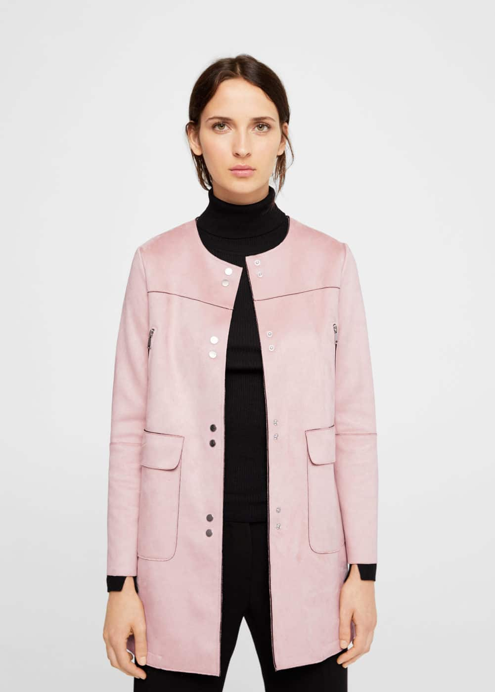 Seams faux-suede coat | MANGO