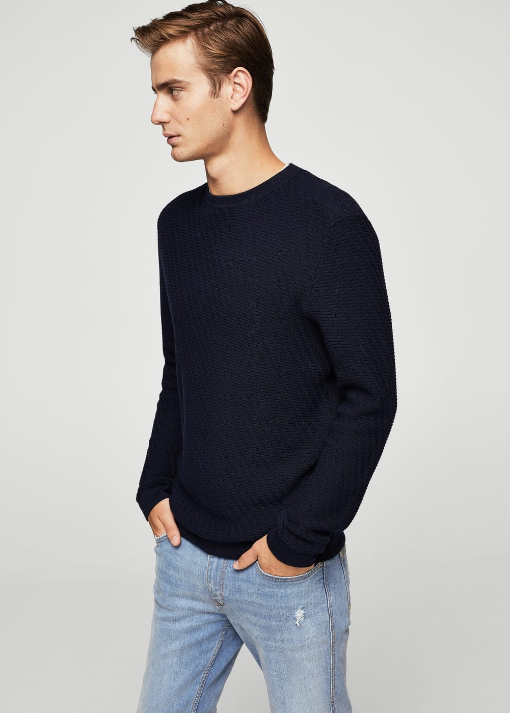 Knit cotton sweater | MANGO MAN