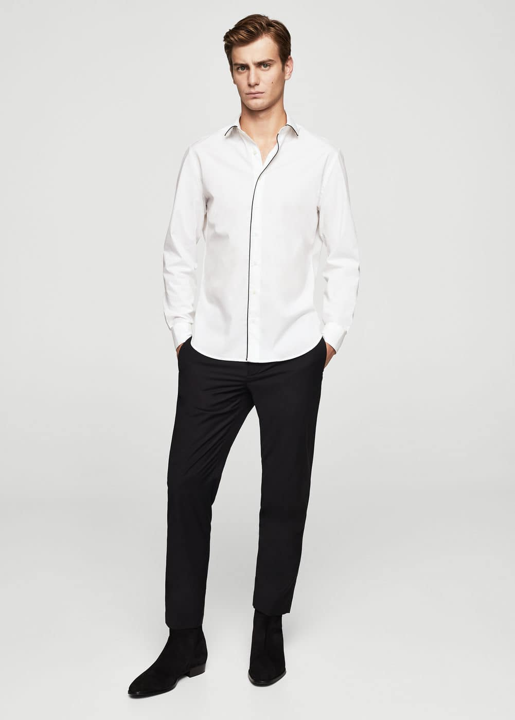 Camisa slim-fit ribetes contraste | MANGO MAN