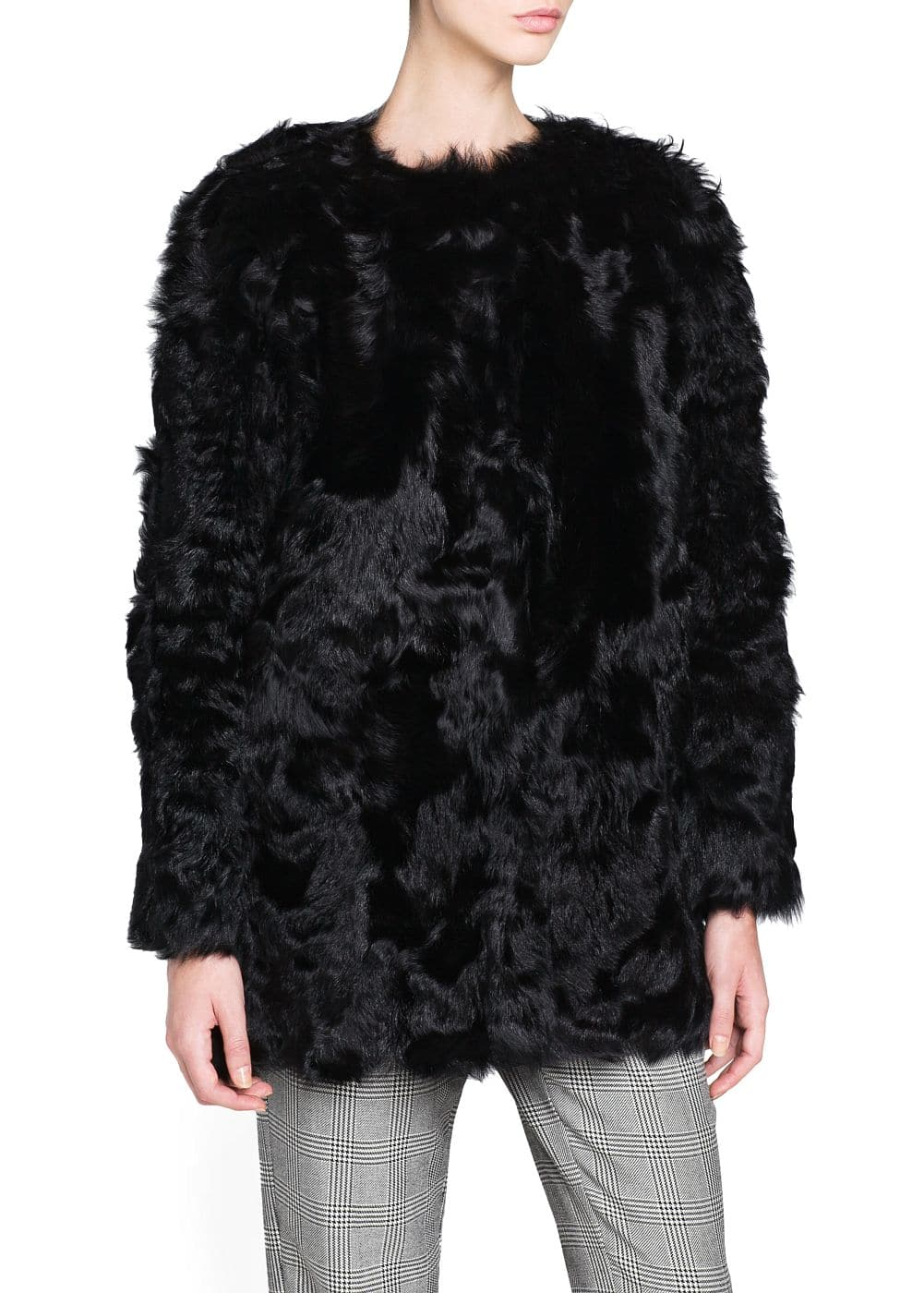 Straight-cut fur coat | MANGO