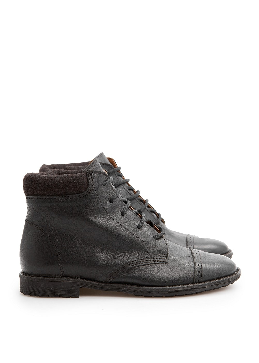 Leather brogue ankle boots | MANGO