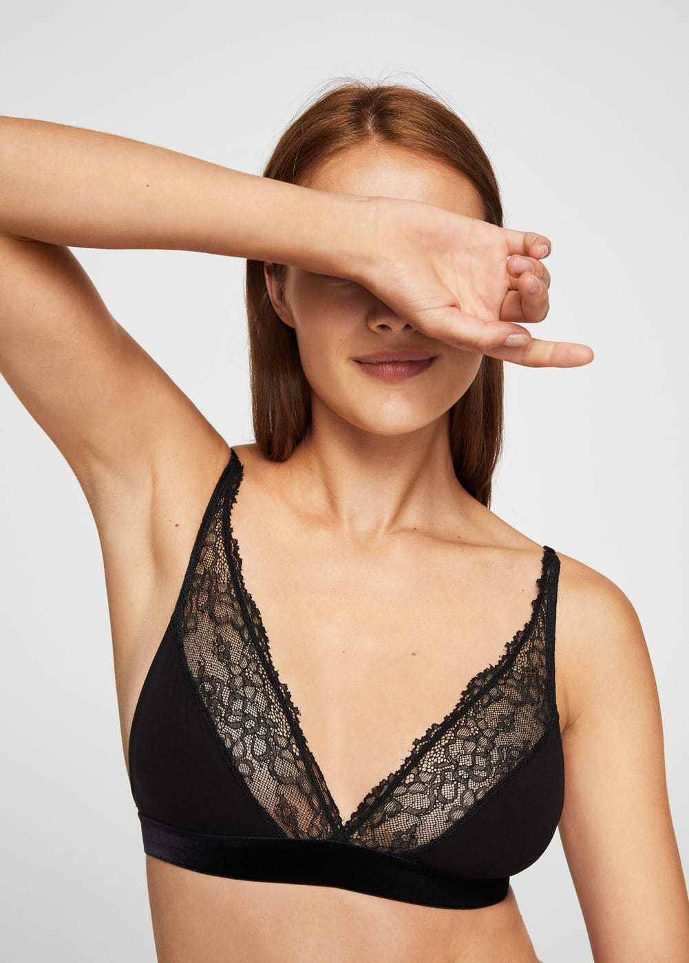 Lace panel bra | MANGO