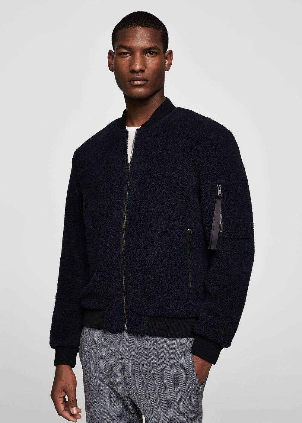 Faux-shearling bomber jacket | MANGO MAN