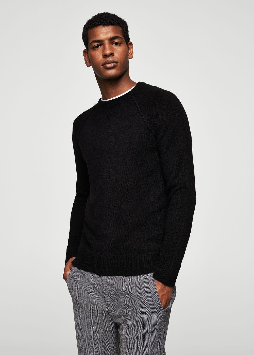Textured knit sweater | MANGO MAN