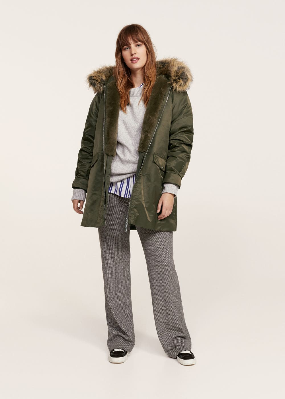 Furry hooded parka | MANGO