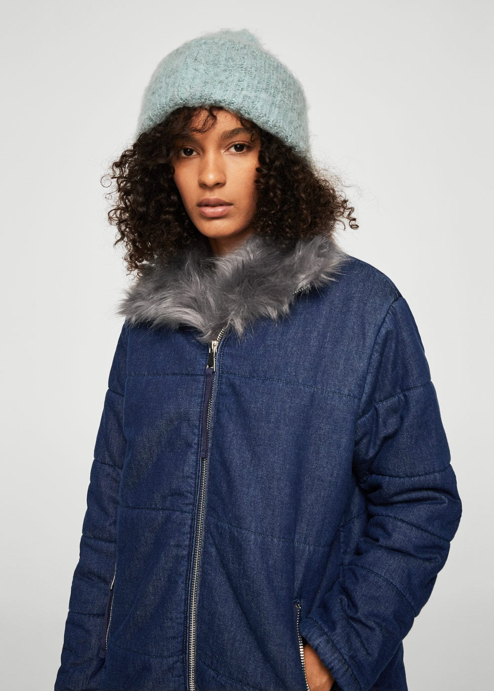 Faux-fur denim jacket | MANGO