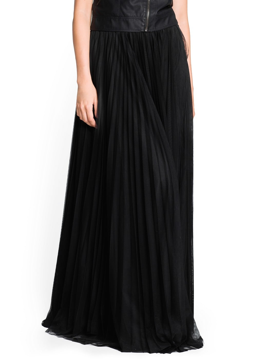 Pleated tulle long skirt | MANGO