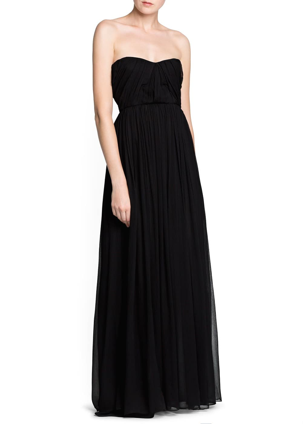 Strapless silk gown | MANGO