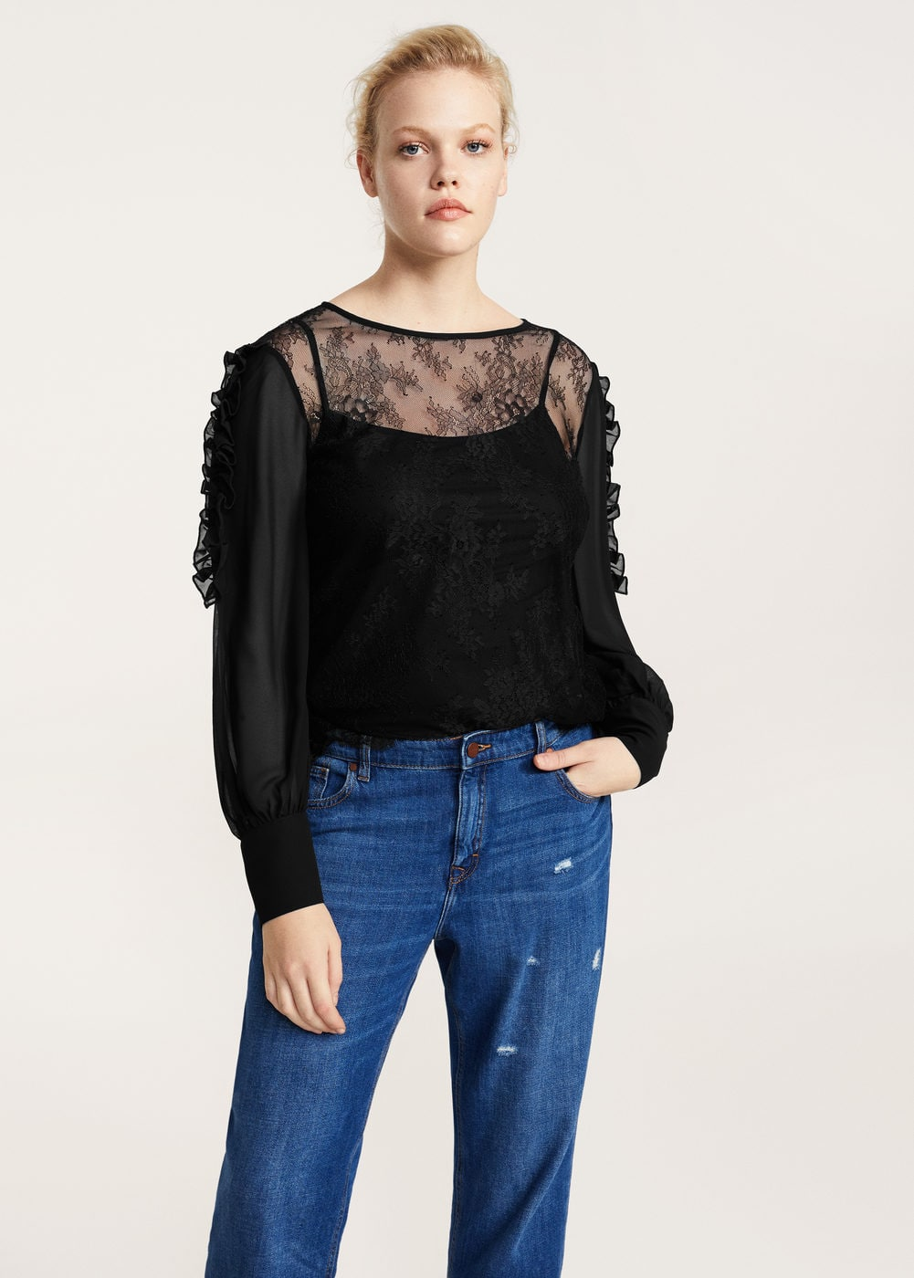 Lace contrast top | VIOLETA BY MANGO