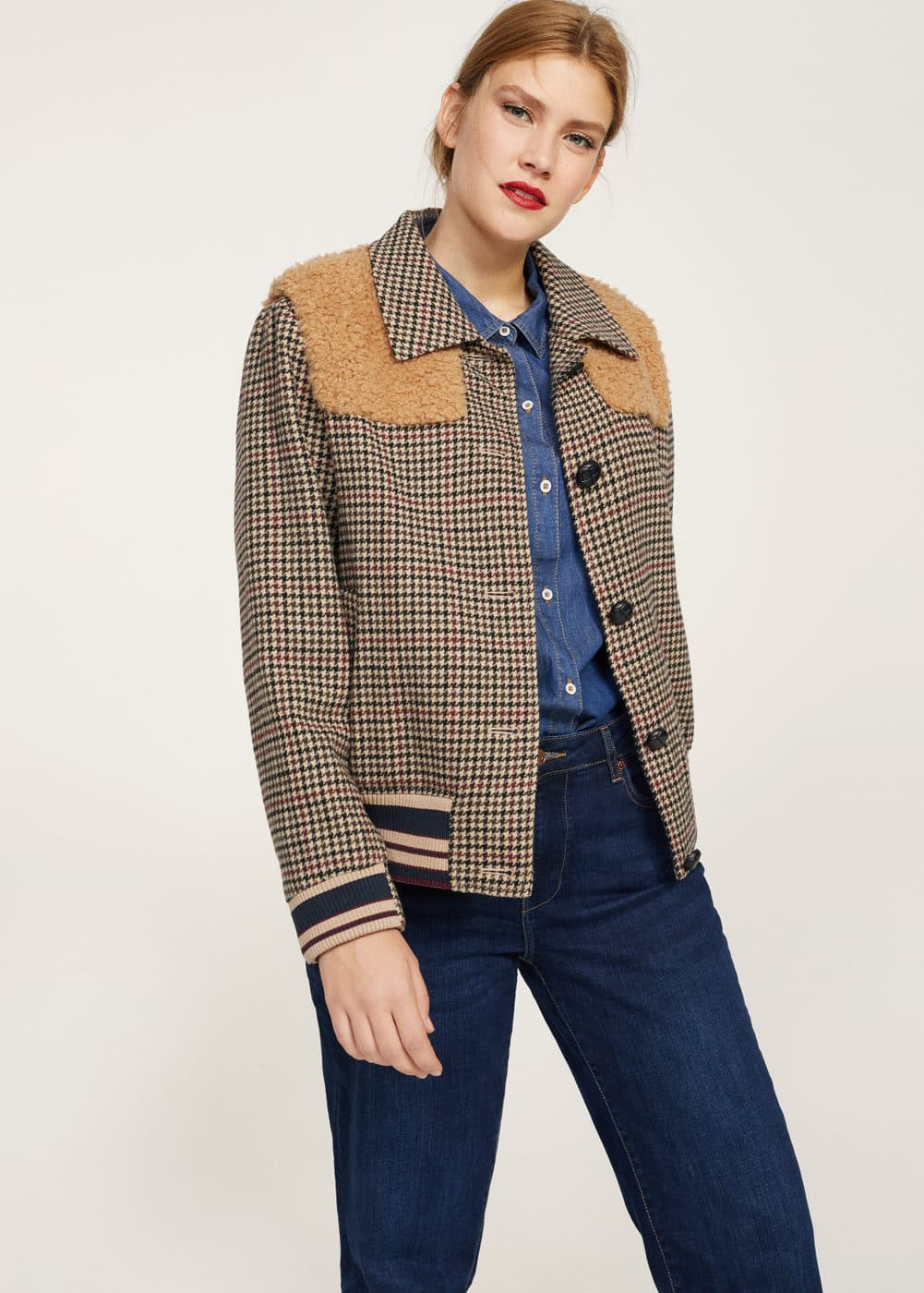 Combined wool-blend jacket | MANGO