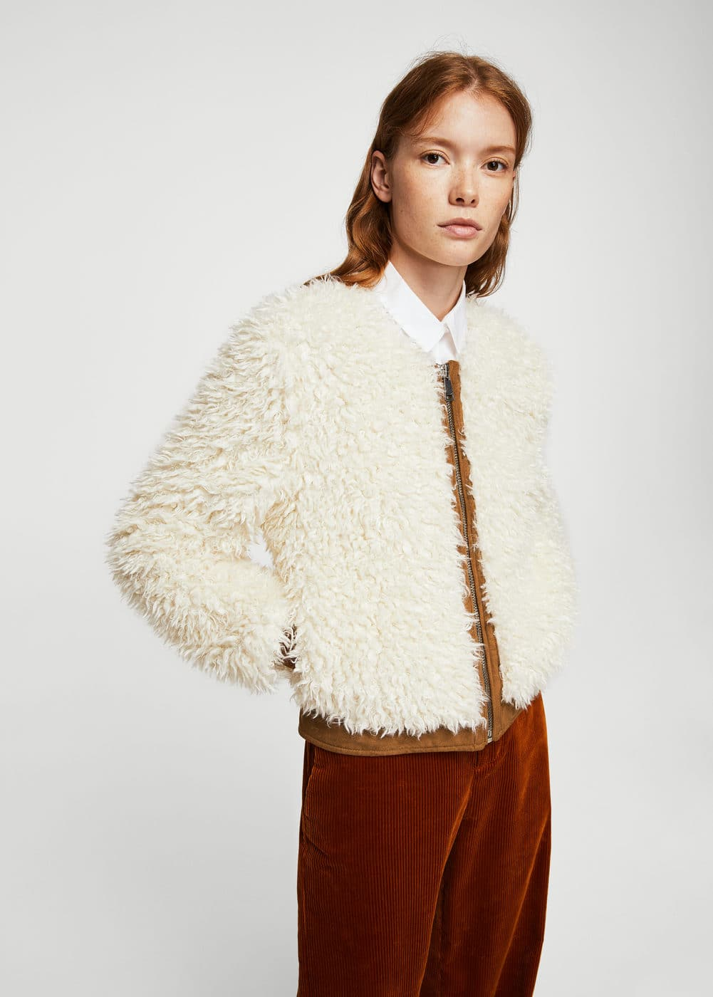 Faux shearling mixed jacket | MANGO