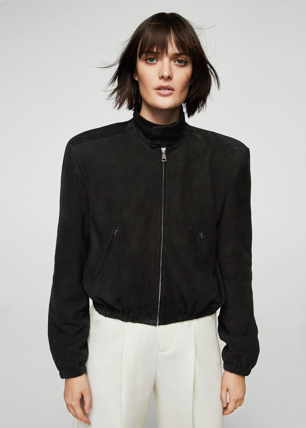 Cropped leather jacket | MANGO