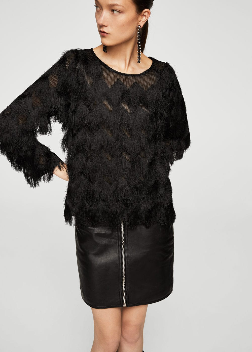 Fringed detail blouse | MANGO