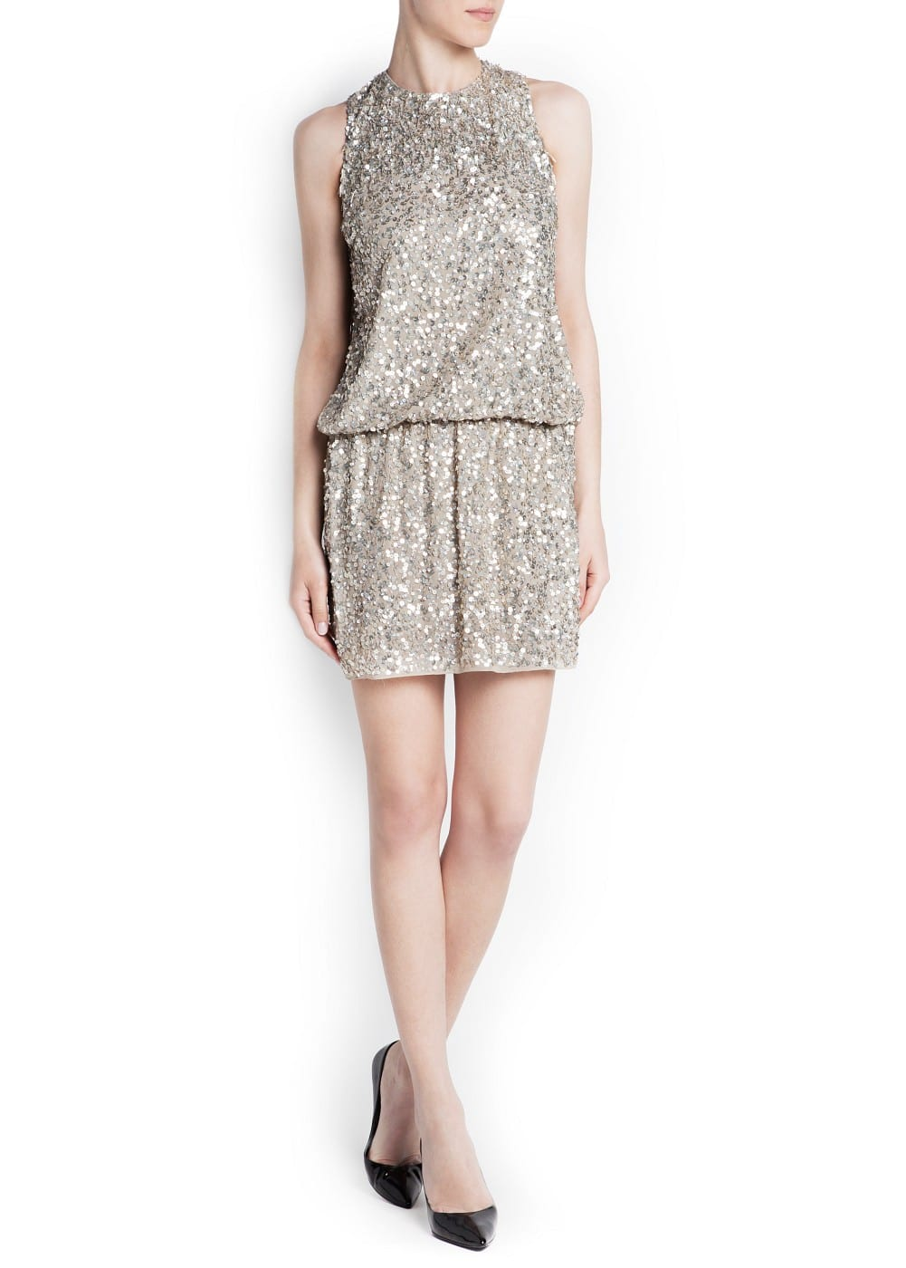Open back sequined dress | MANGO
