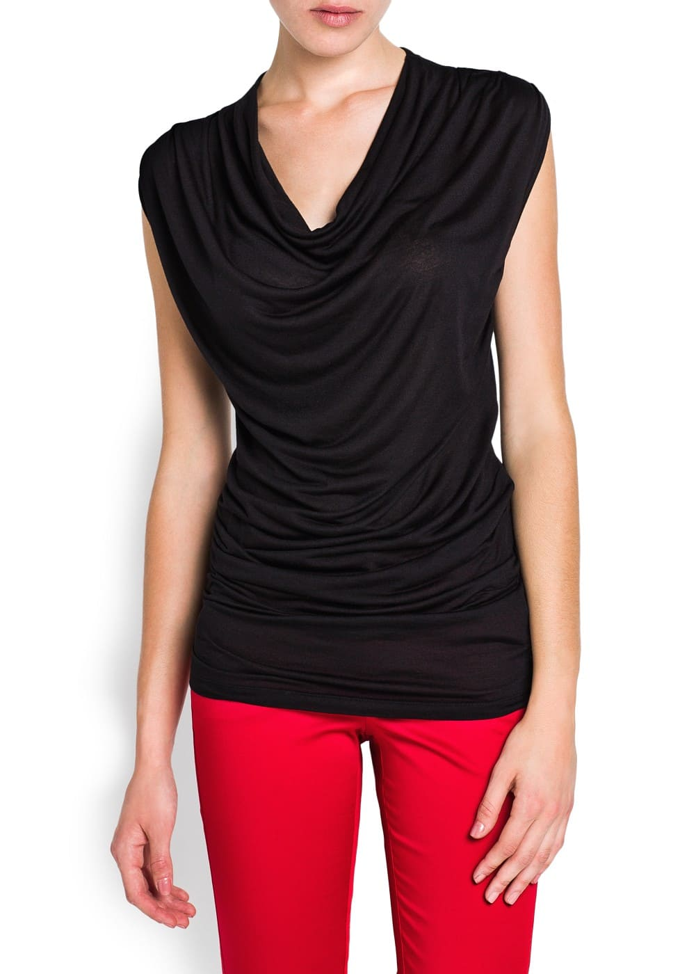 Draped neckline top | MANGO