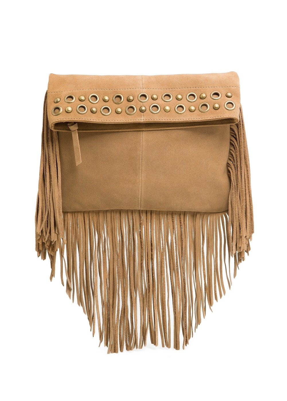 Fringed suede shoulder bag | MANGO