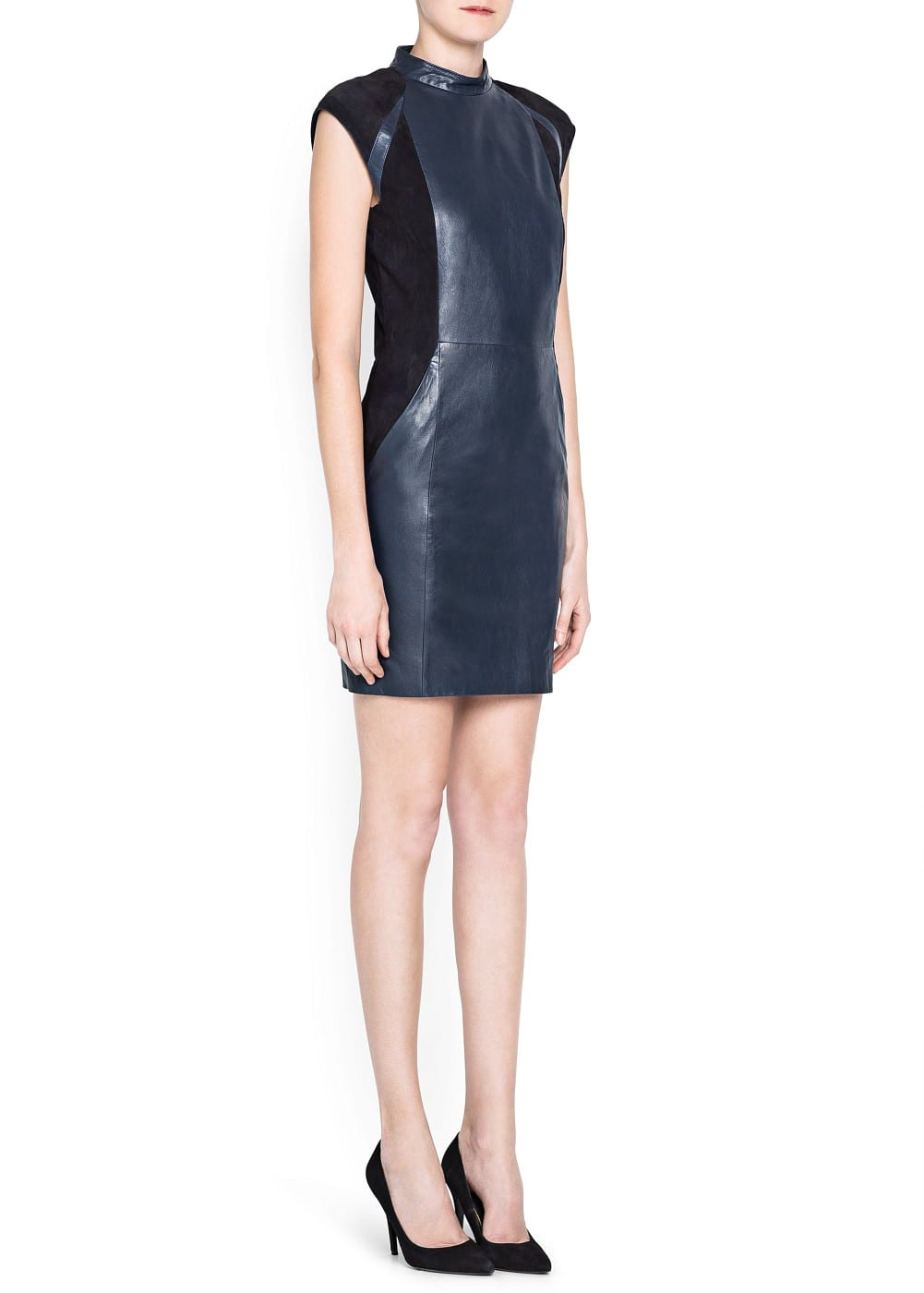 Premium - combi leather dress | MANGO