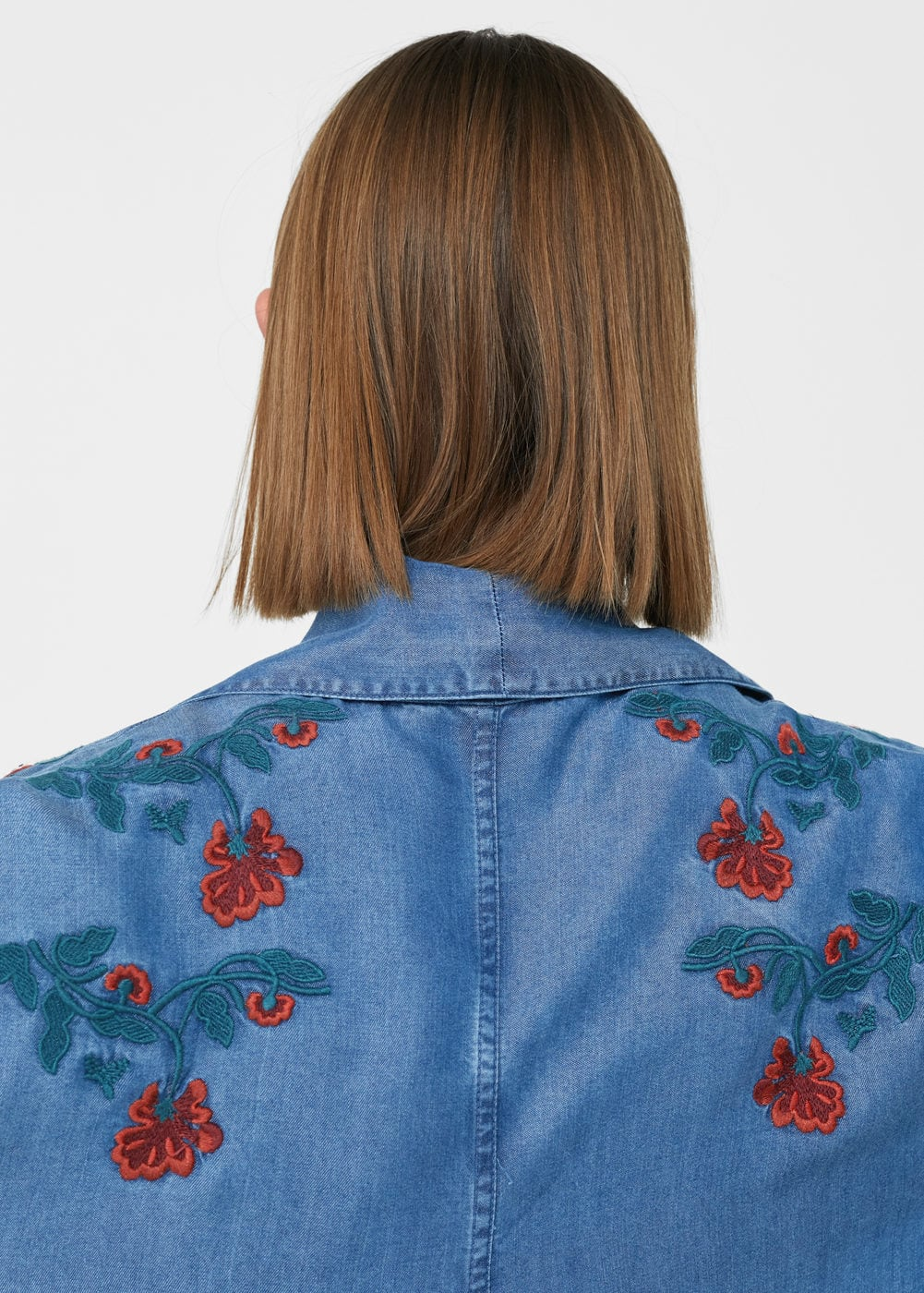 Embroidered denim trench | MANGO
