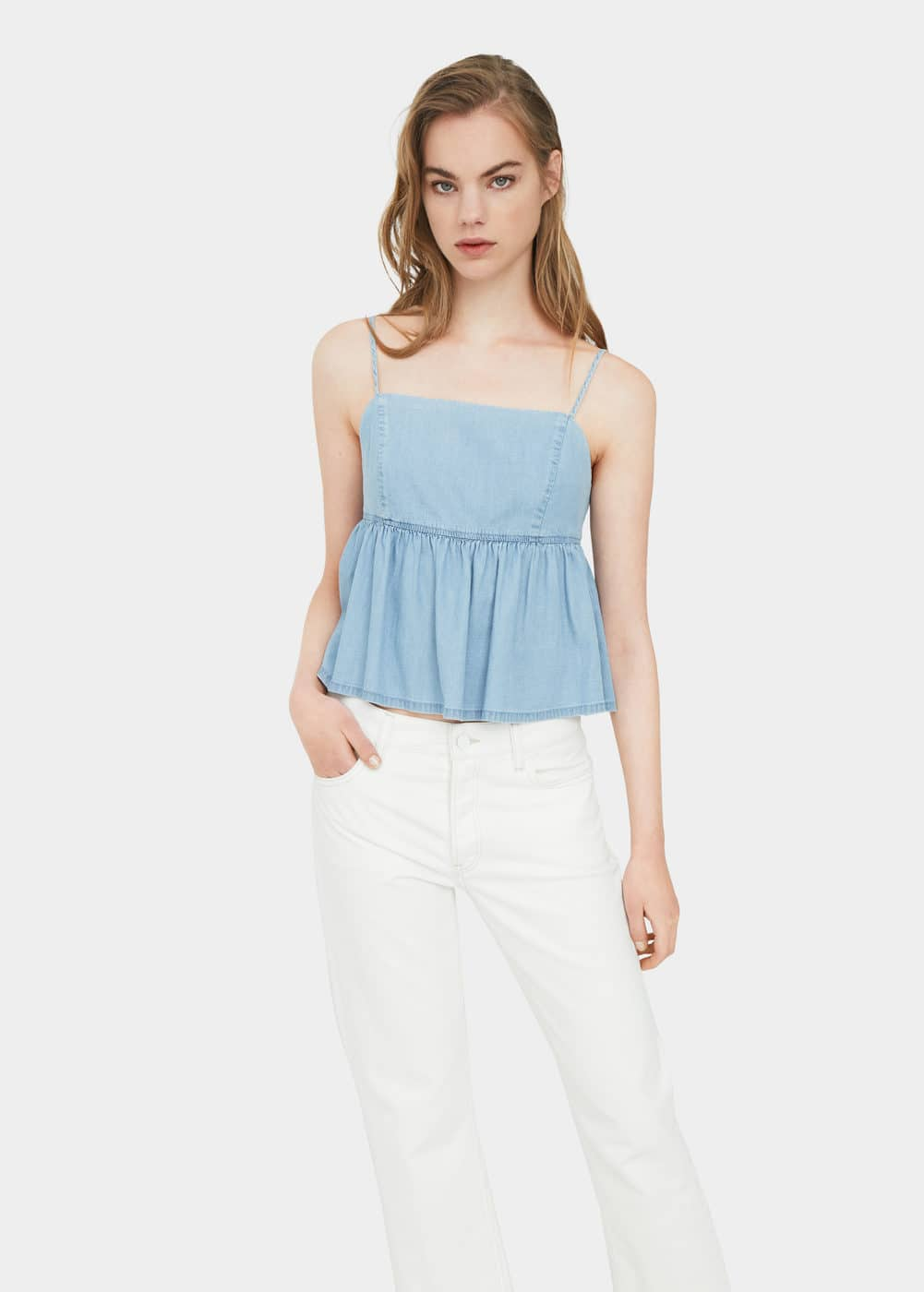 Bow denim top | MANGO