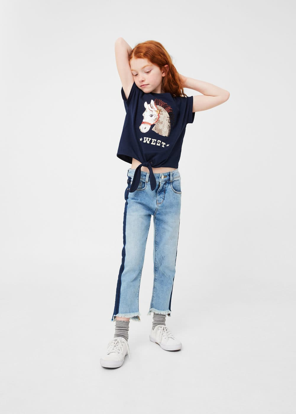 Knot sequins t-shirt | MANGO KIDS