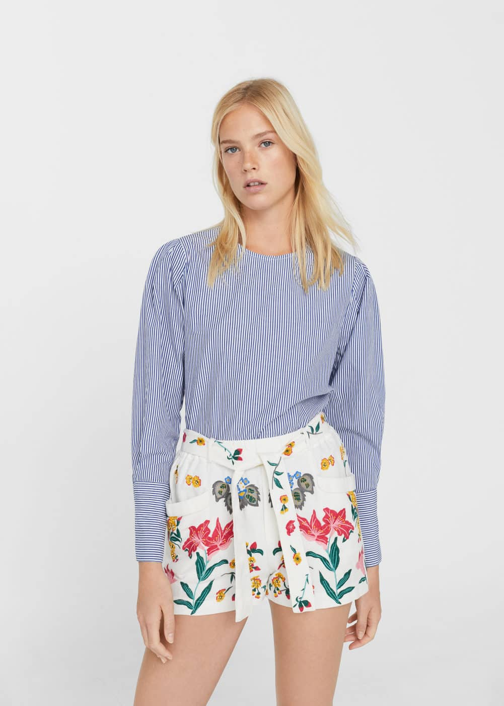 Embroidered cotton shorts | MNG