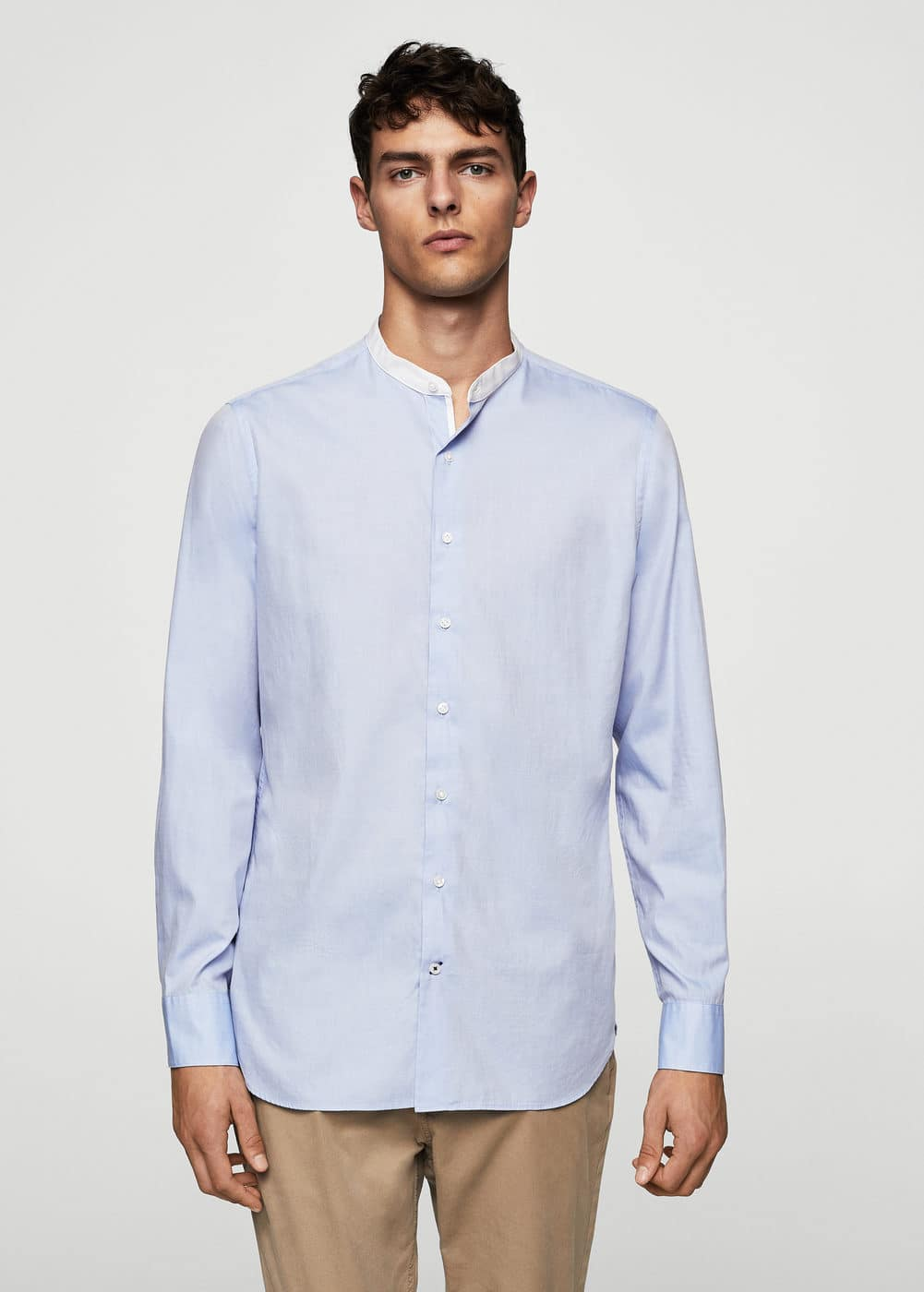 Slim-fit mao collar cotton shirt | MANGO