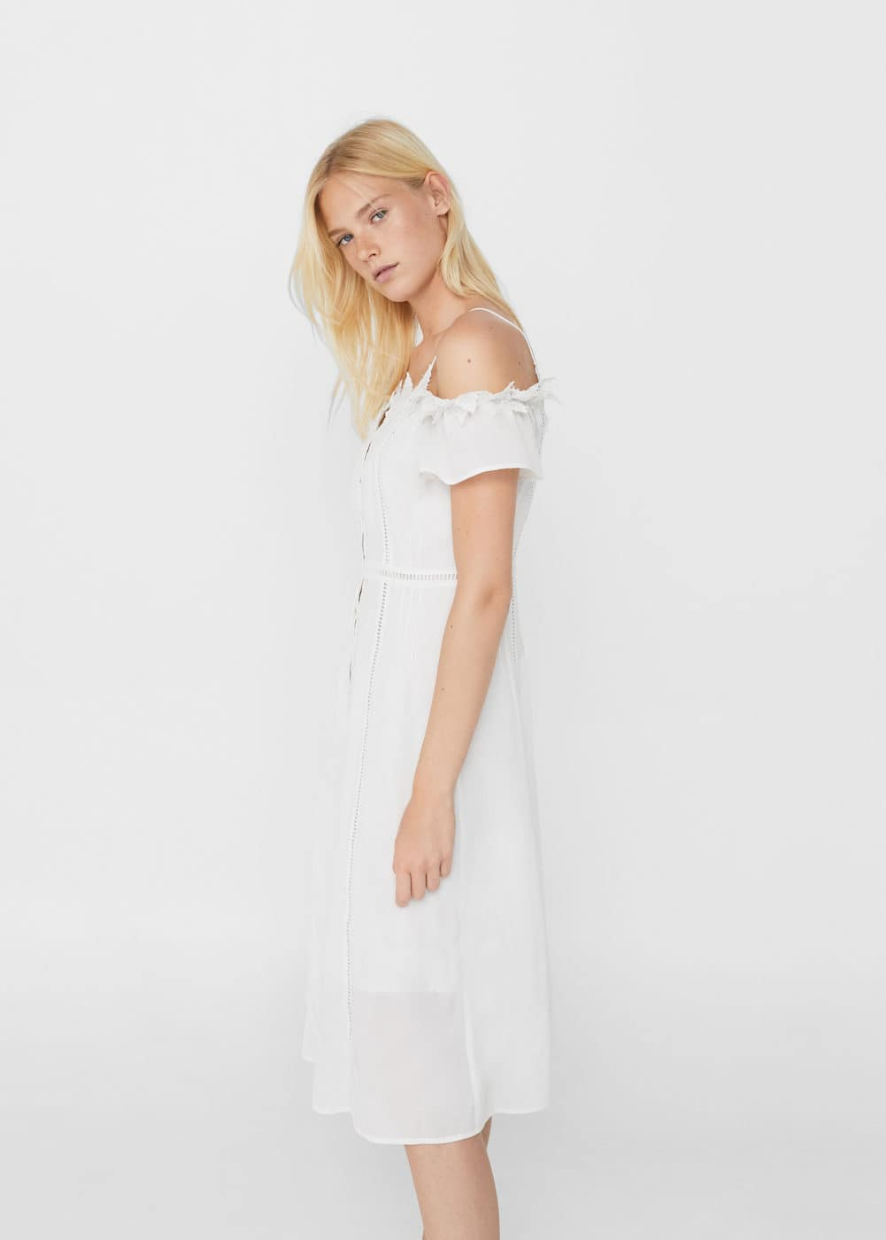 Lace off-shoulder dress | MANGO