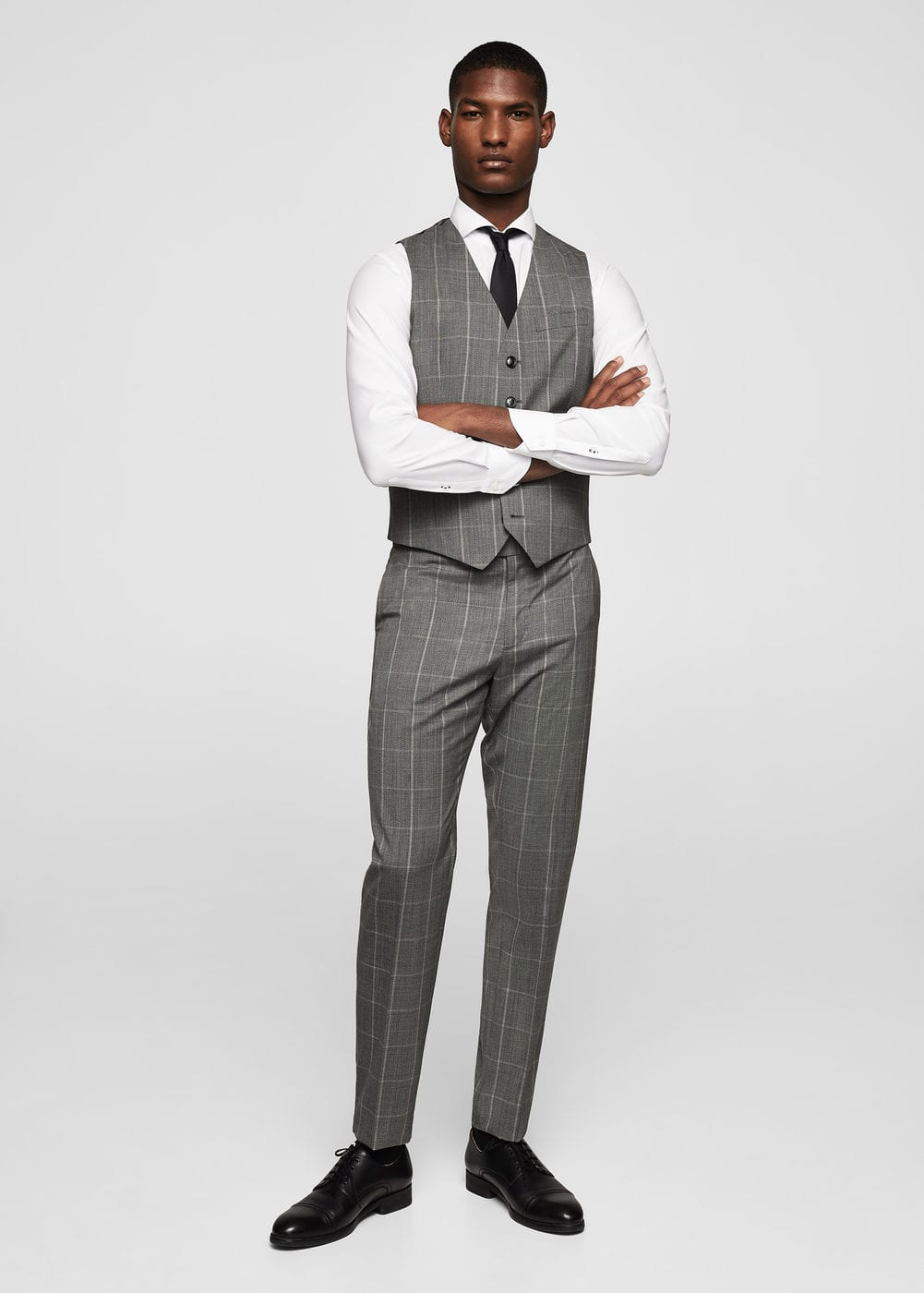 Slim-fit check cold wool suit gilet | MANGO