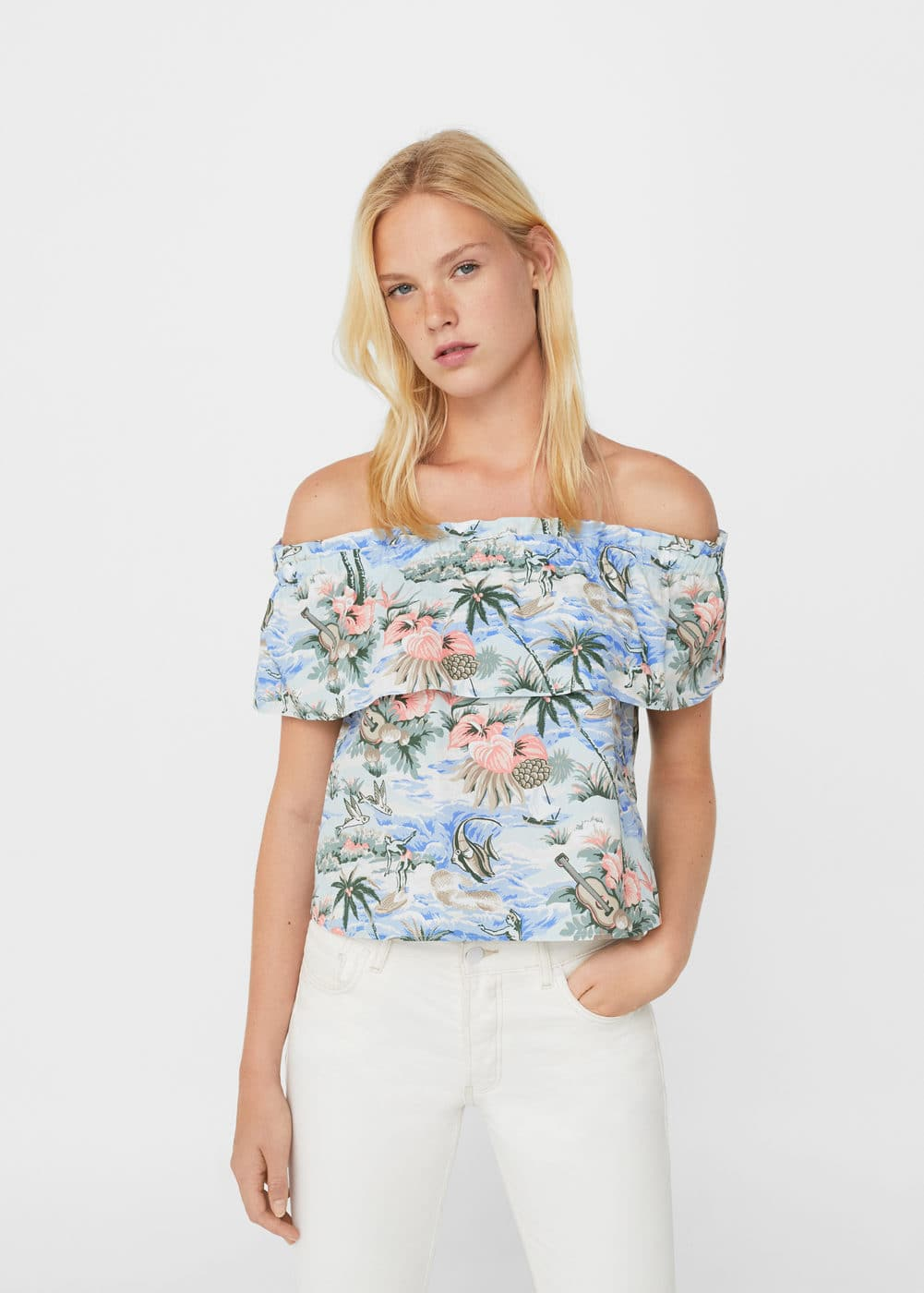 Top off-shoulder tropical | MNG