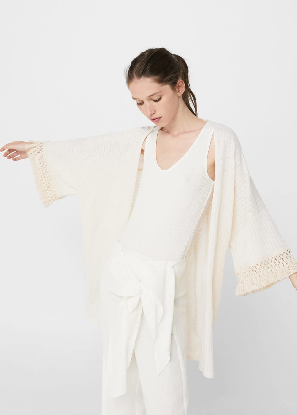 Cotton fringed caftan | MANGO