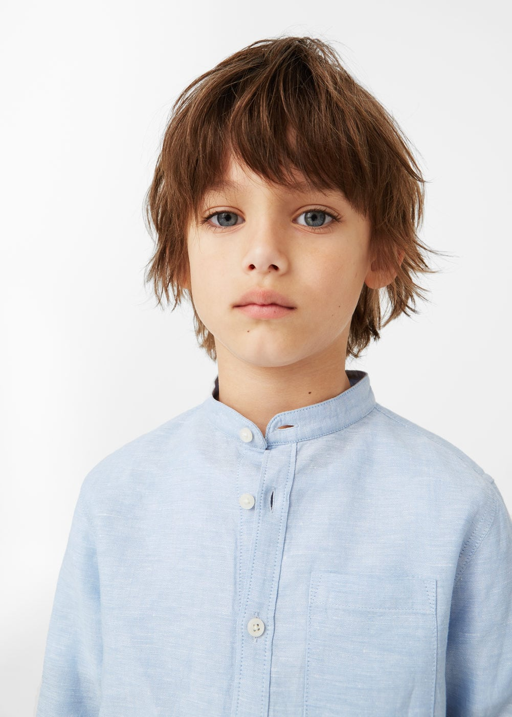 Mao collar linen shirt | MANGO KIDS