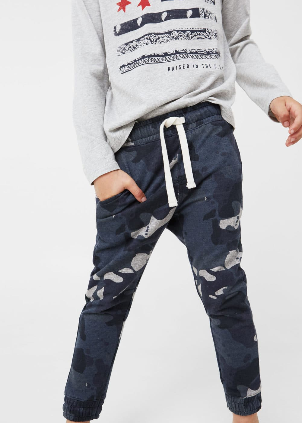 Camo-print jogging trousers | MANGO KIDS
