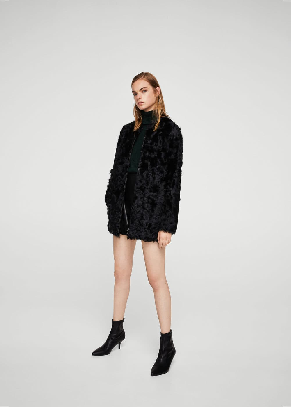 Fur leather coat | MANGO