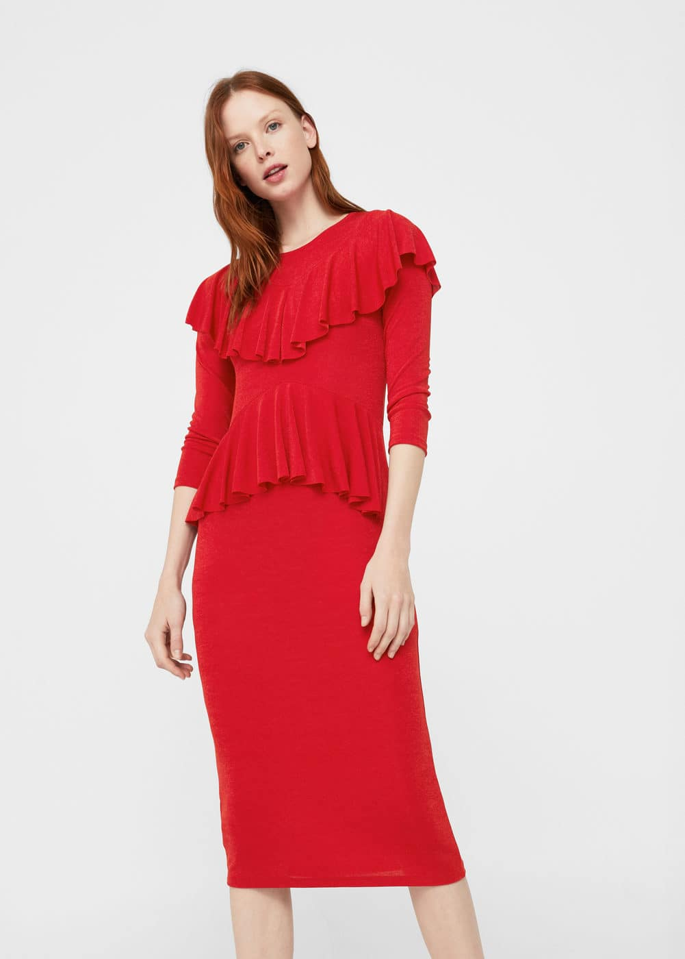 Ruffled midi dress | MANGO