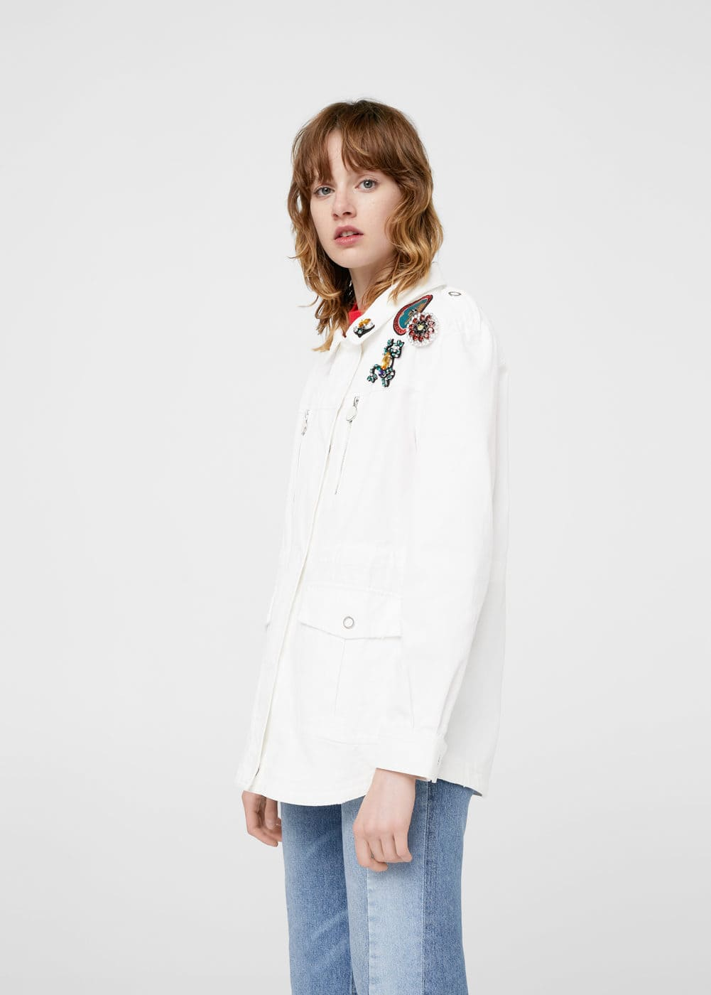 Decorative patches cotton jacket | MANGO