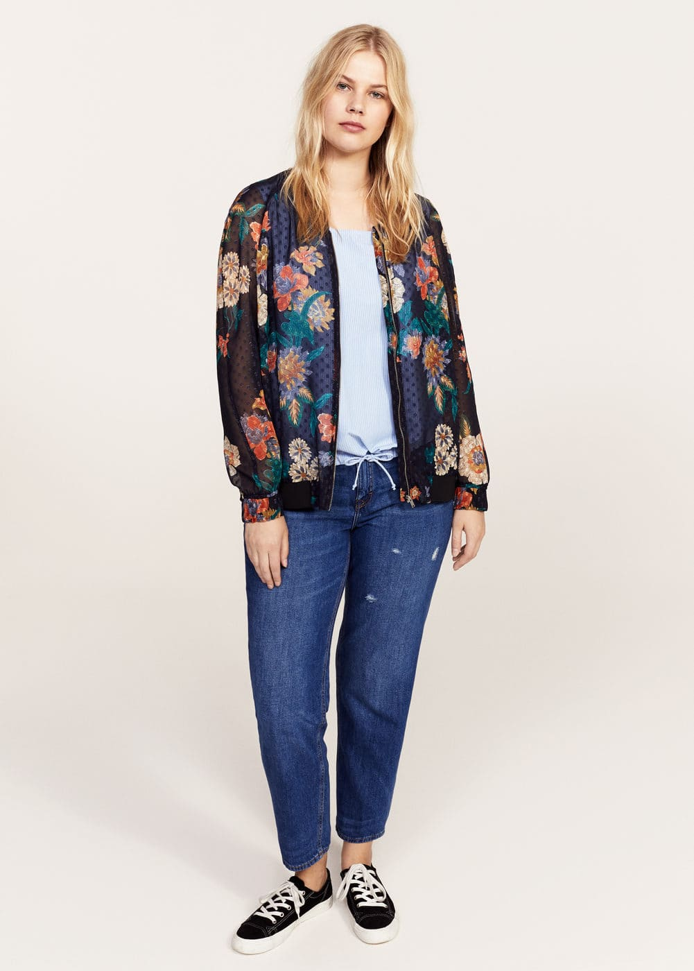 Sheer printed bomber jacket | VIOLETA BY MANGO