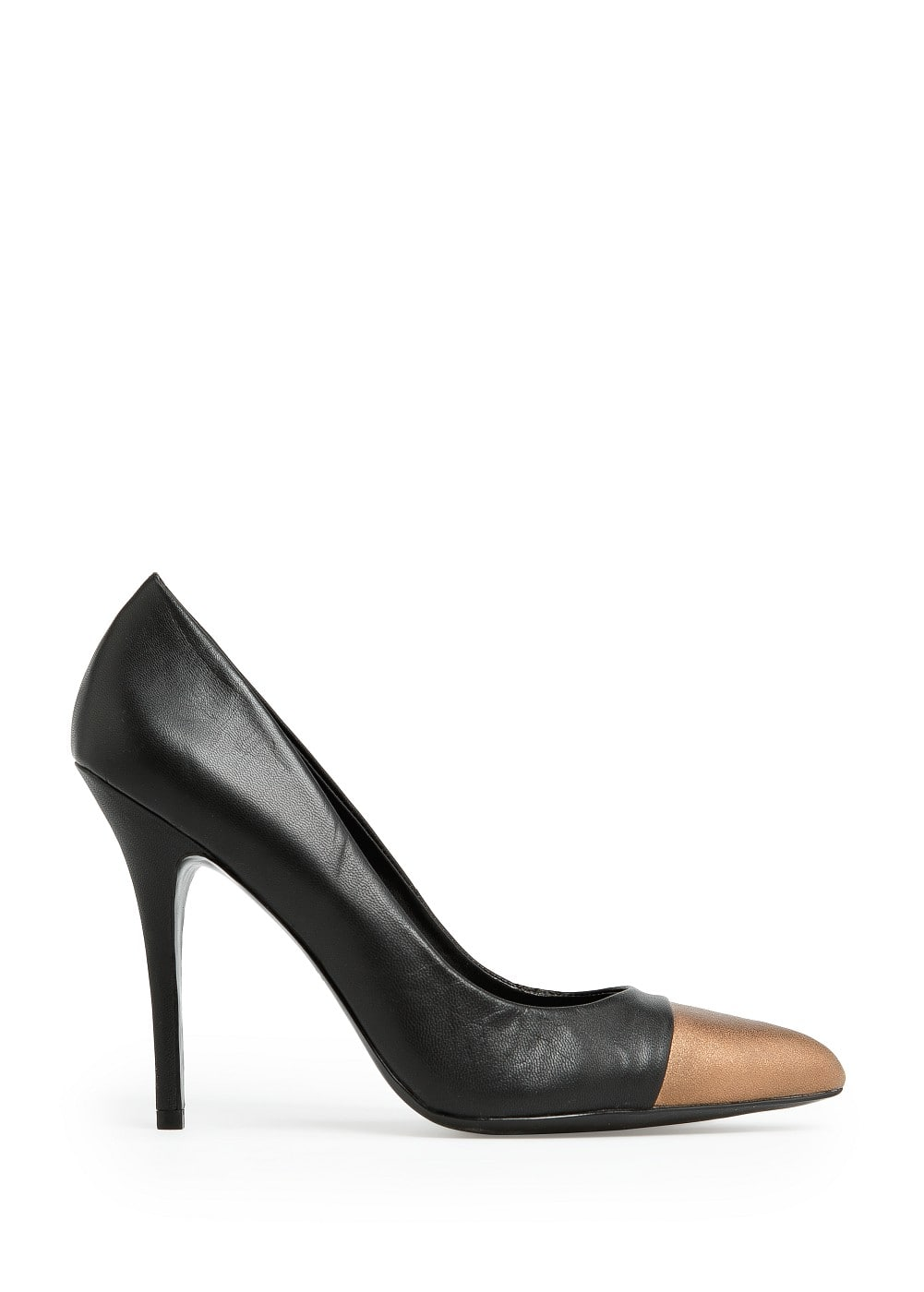 Contrasted toe leather stiletto shoes | MANGO