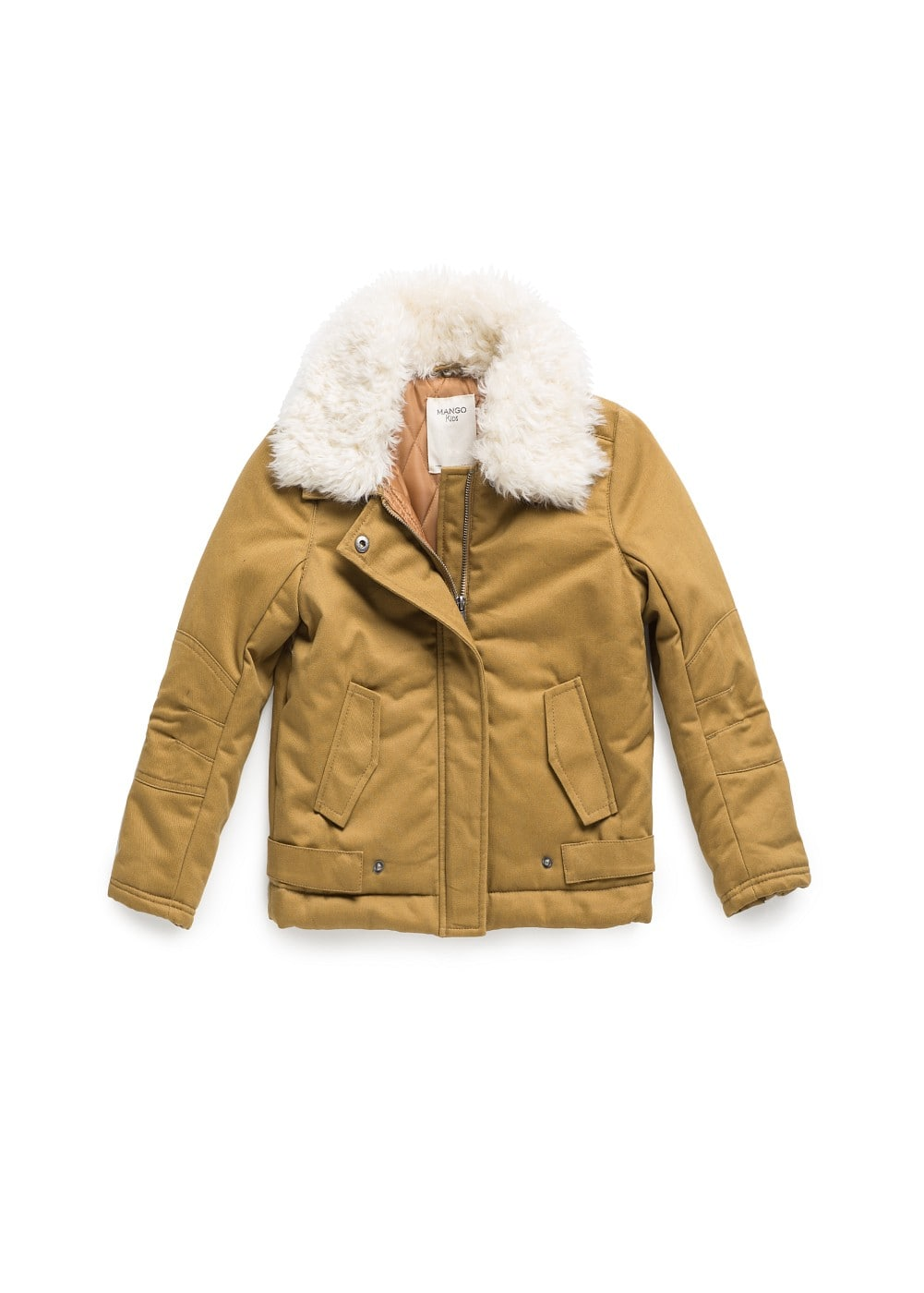 Faux fur collar coat | MANGO KIDS