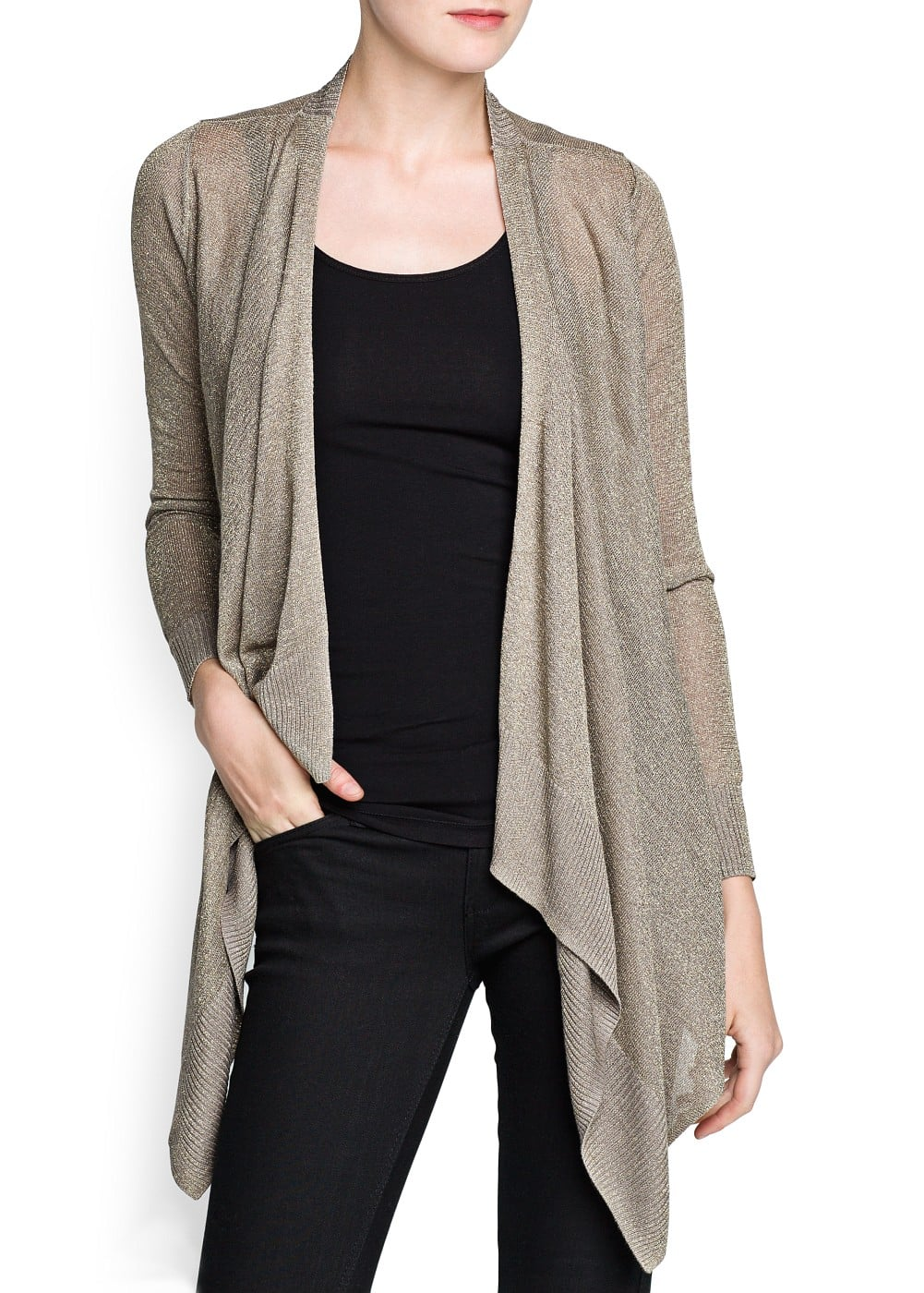 Metallic detail waterfall cardigan | MANGO