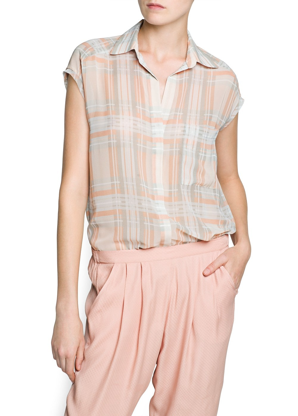 Checked chiffon shirt | MANGO