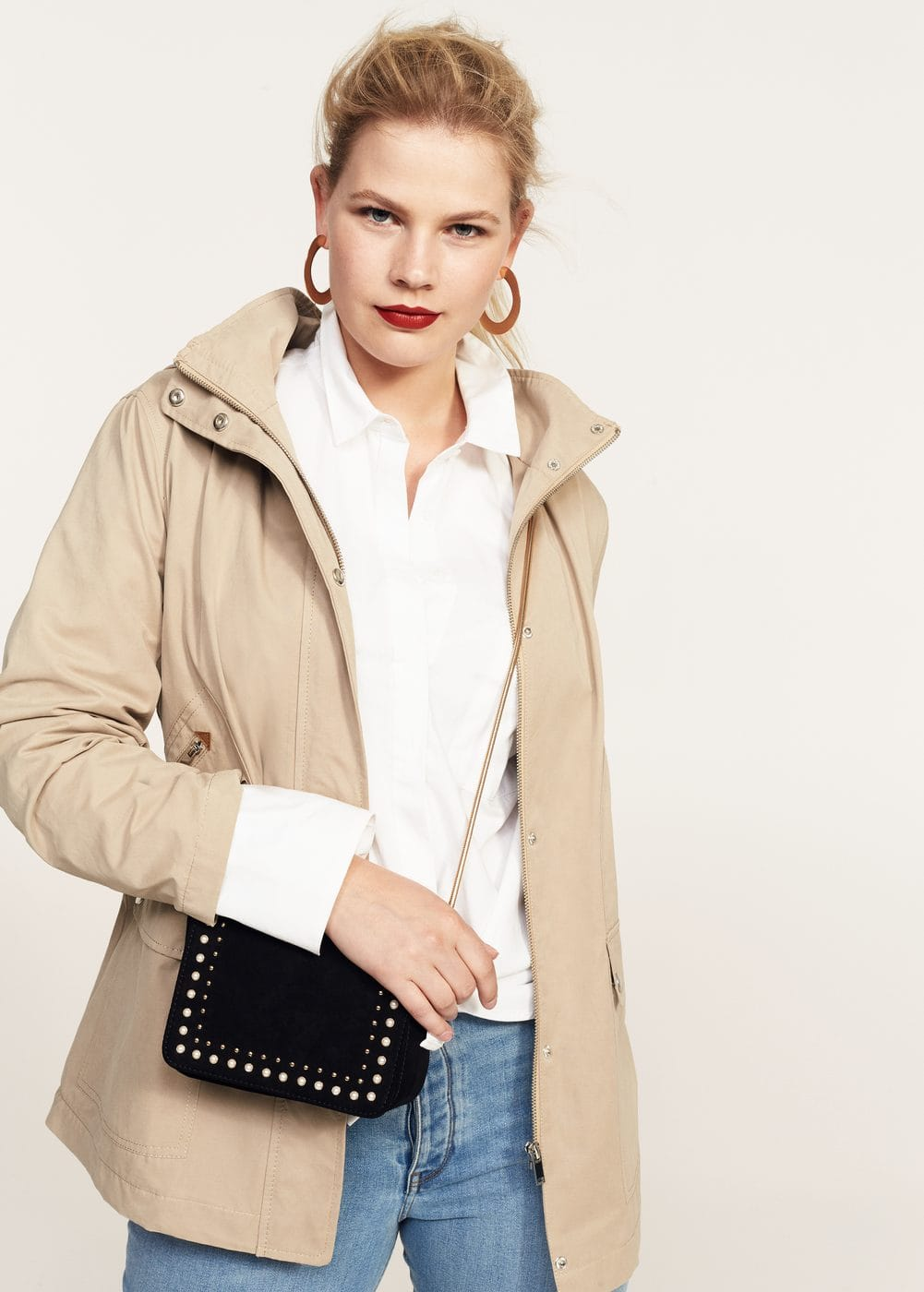 Detachable hood trench coat | VIOLETA BY MANGO